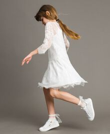Jersey dress and lace blouse Off White Child 191GJ2740-0T