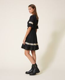 Pleated dress with lace Black Woman 202TP2130-02