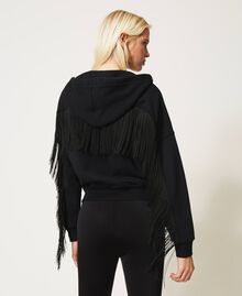 Sweatshirt with zip and fringes Creamy White Woman 202TP265E-04