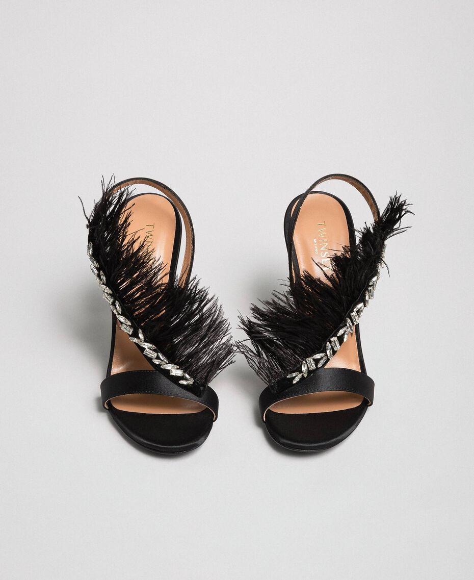 Sandales en satin avec plumes Noir Femme 192TQP050-05