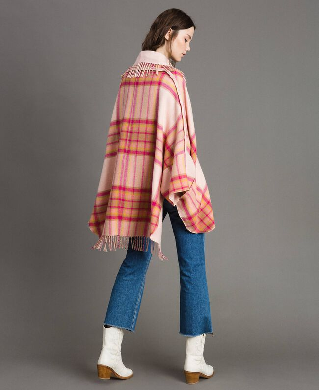 "Check wool cloth poncho ""Pink Check"" Woman 191TP2621-04"