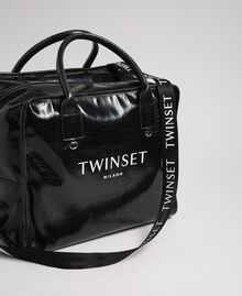 Sac week-end en similicuir brillant Noir Femme 192TA7172-01