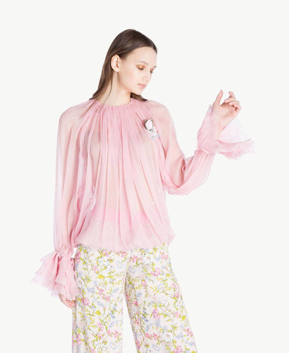 Silk blouse Hydrangea Pink Woman PS8221-02