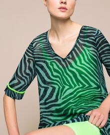 "Georgette animal print dress ""Atlantic Deep"" Green Zebra Print Woman 201LB2GGG-04"