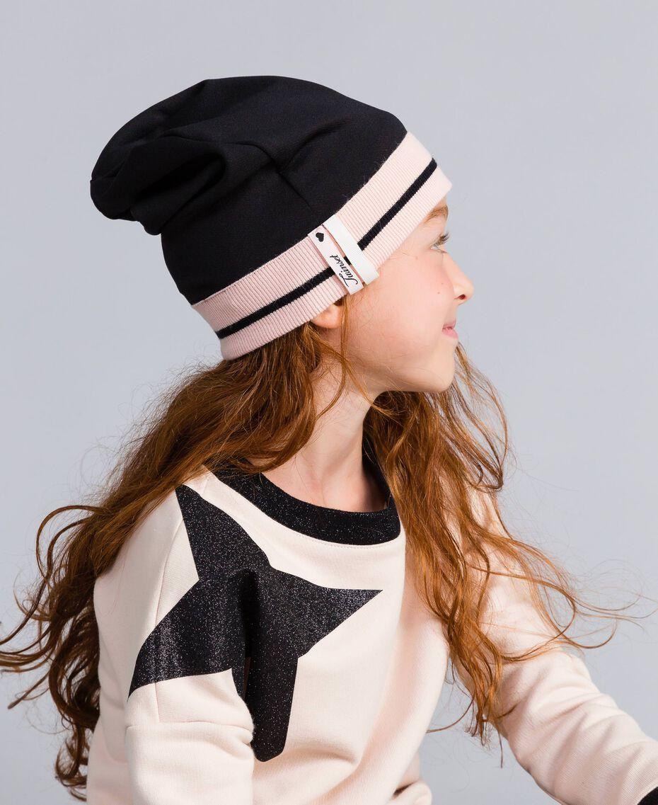 Bonnet oversize en tissu technique Bicolore Noir / Rose «Blush» Enfant GA8HPS-0S
