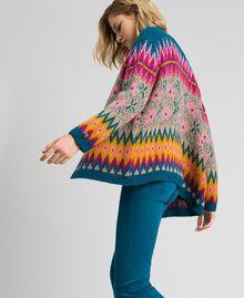 Pull-cardigan jacquard multicolore Jacquard Multicolore Bleu «Lake» Femme 192MP3181-01