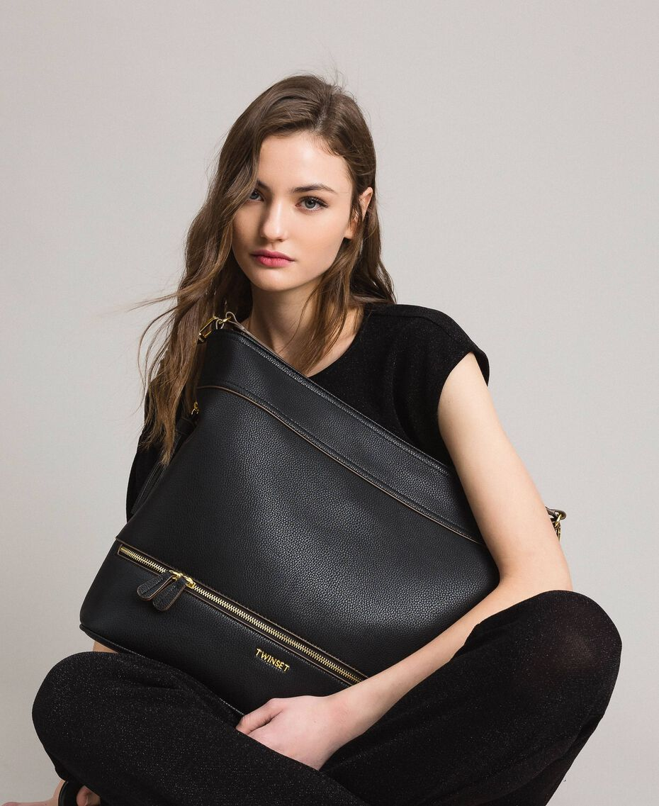 Faux leather hobo bag with tassel Black Woman 191TA7600-0S