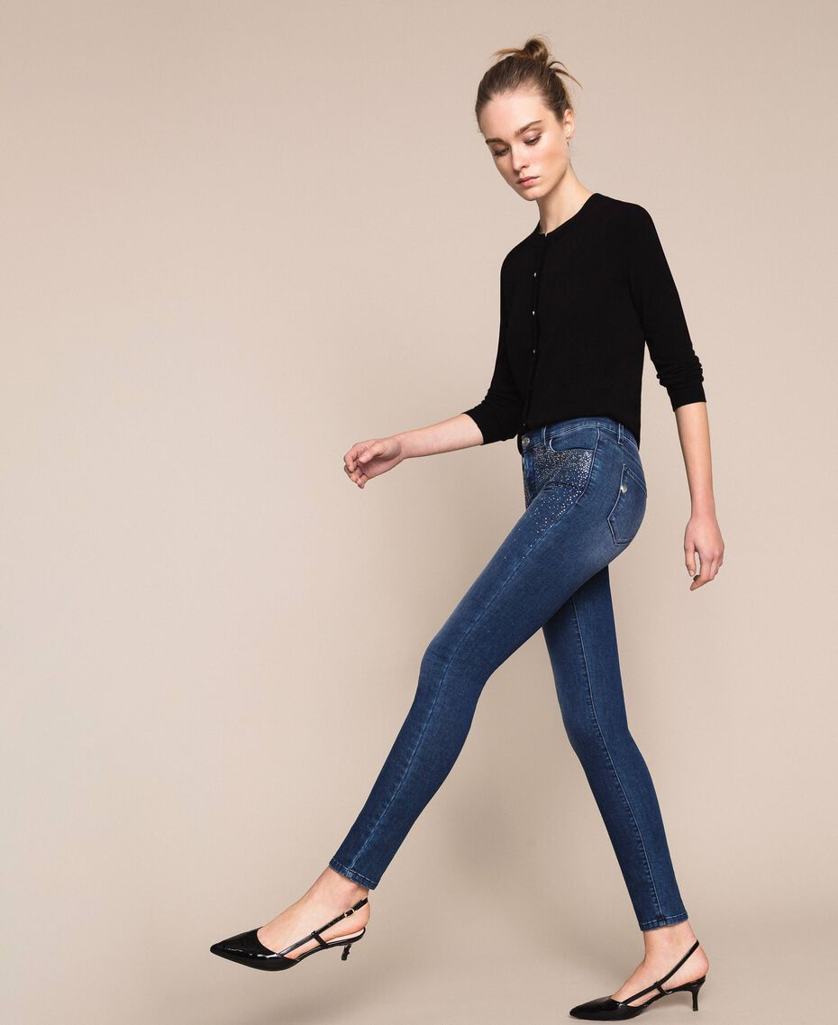 Push up jeans with studs Denim Blue Woman 201MP227J-03