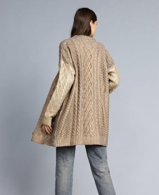 Maxi laminated cardigan Bicolour Bronze / Gold Woman TA831A-04