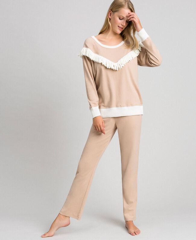 Long pyjamas with fringes Warm Beige Woman 192LL2EGG-01