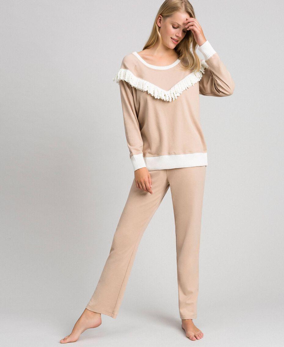 Pyjama long avec franges Beige Foncé Femme 192LL2EGG-01