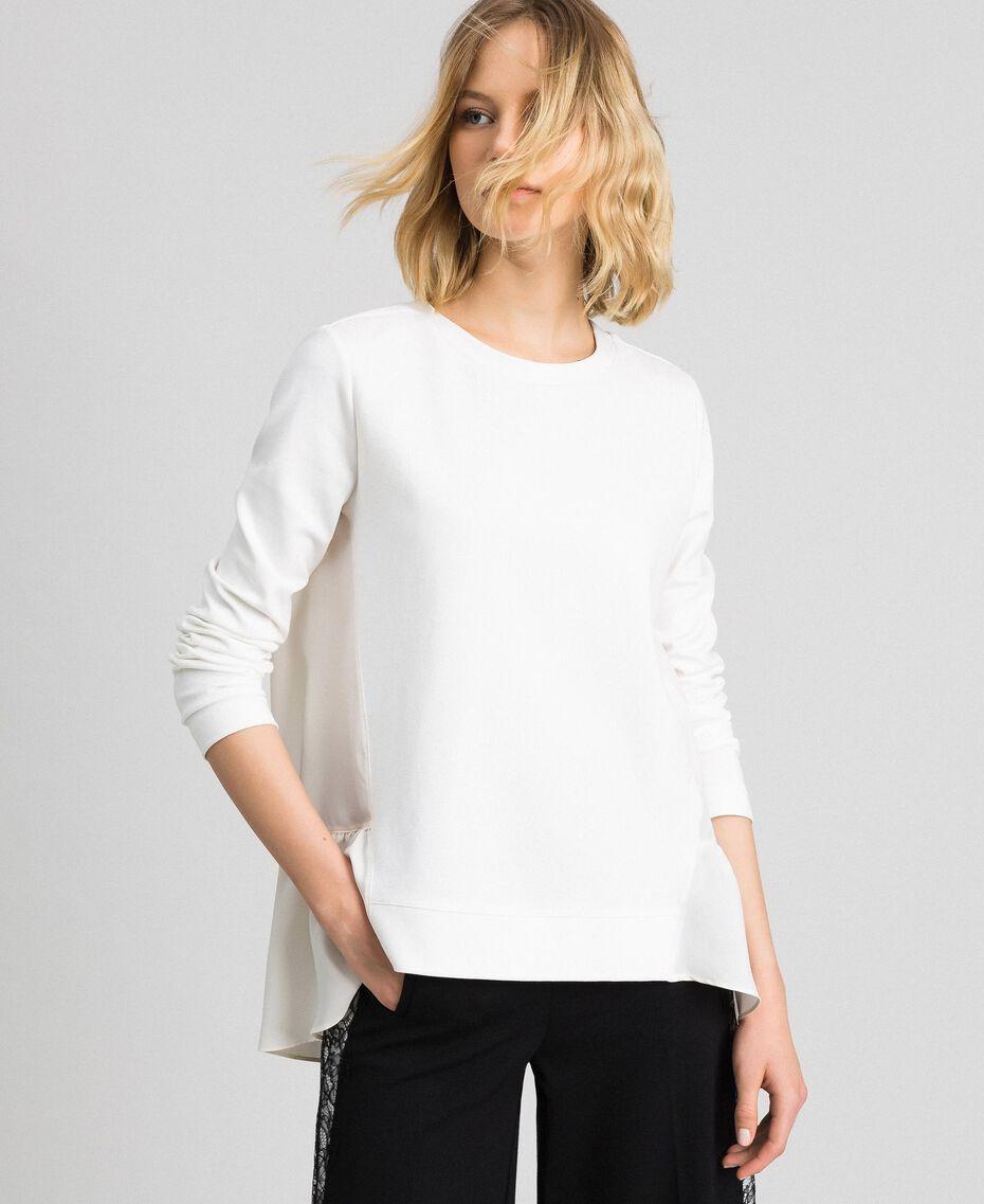 Bluse mit asymmetrischem Volant Weiß Schnee Frau 192TP2641-02