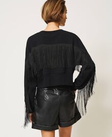 Cropped sweatshirt with fringes Creamy White Woman 202TP265F-03