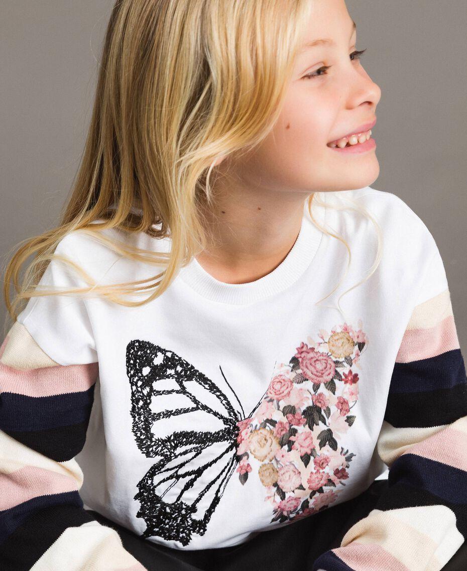 Geknüpfter gestreifter Baumwoll-Pullover Streifen Optisch Weiß / Multicolour Kind 191GJ2451-0S