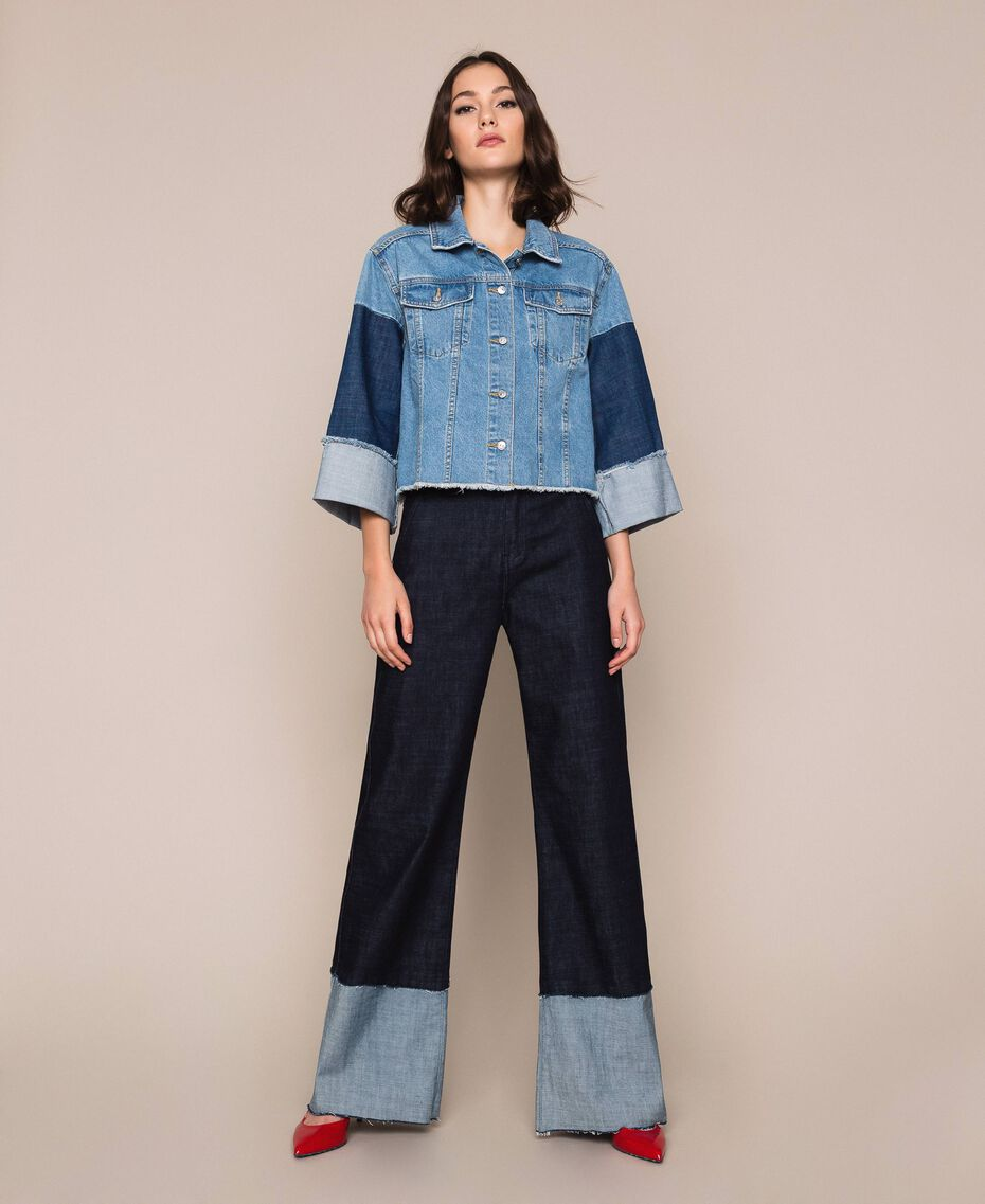 Giacca boxy in jeans color block Denim Blue Donna 201MP2290-0T