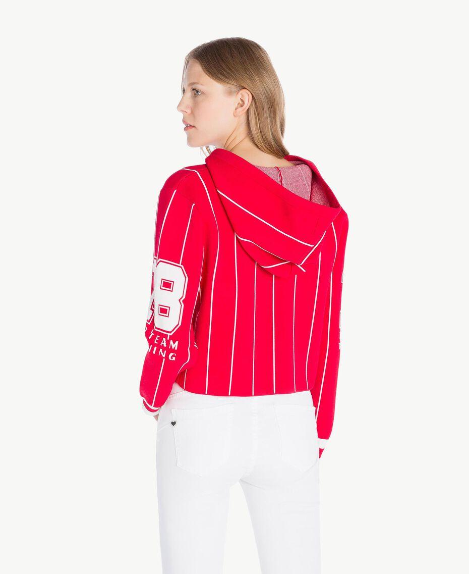 Pull court Bicolore Rouge Cerise / Blanc Optique Femme JS83HP-03