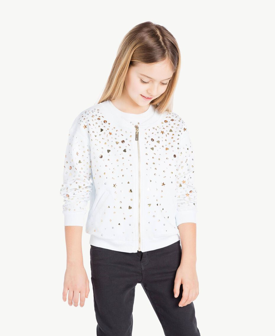 """Studded sweatshirt """"Papers"""" White Child GS82G5-02"""