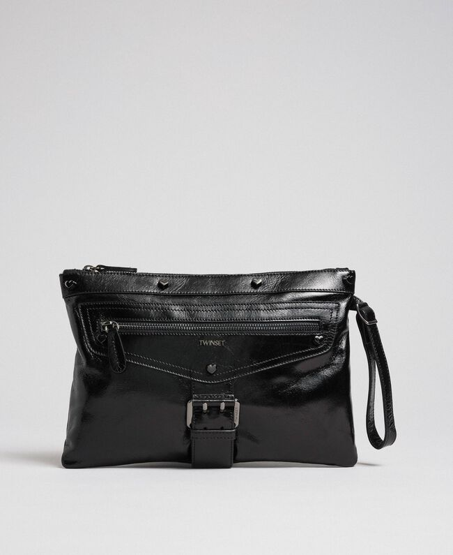 Pochette en cuir effet craquelé Noir Femme 192TA723B-01