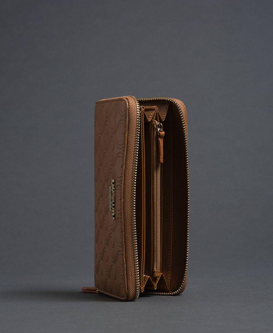 Heart print faux leather wallet Irish Cream Hazelnut Woman 192MA7015-03
