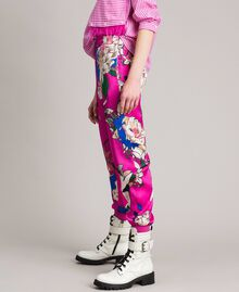 Floral satin jogging trousers Wind Flower Pink Print Woman 191TP2473-03