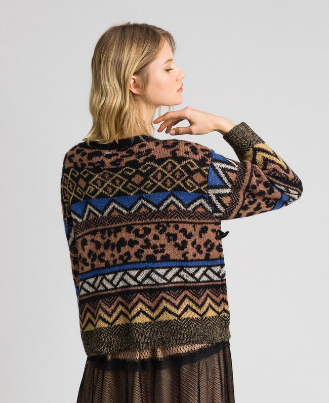 Wool and mohair jumper with jacquard patterns Geometric Animal Print Mix Jacquard Woman 192ST3190-03