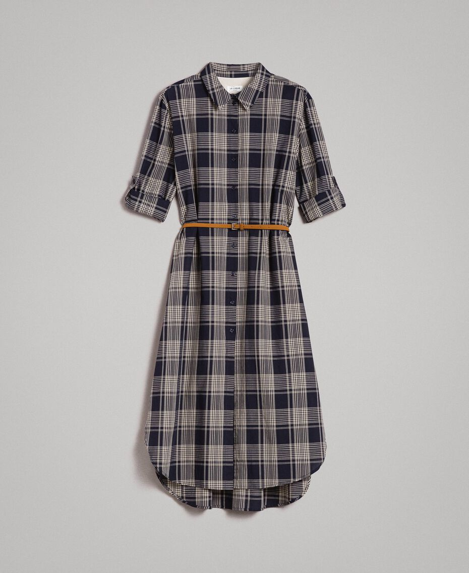 Check dress with belt Blue Shadow Check Jacquard Woman 191ST2132-0S