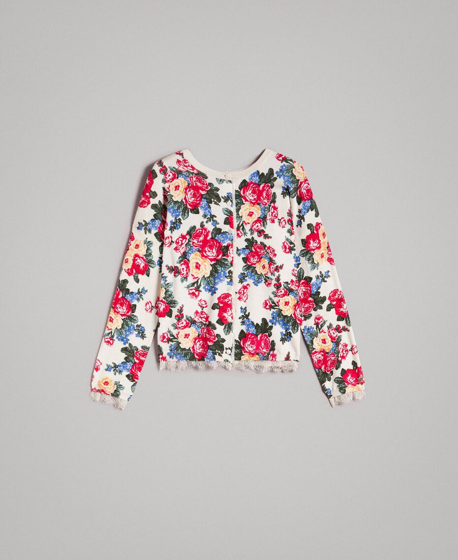 Jumper-cardigan with floral print Cloth White Flowers Print Woman 191MP3131-0S