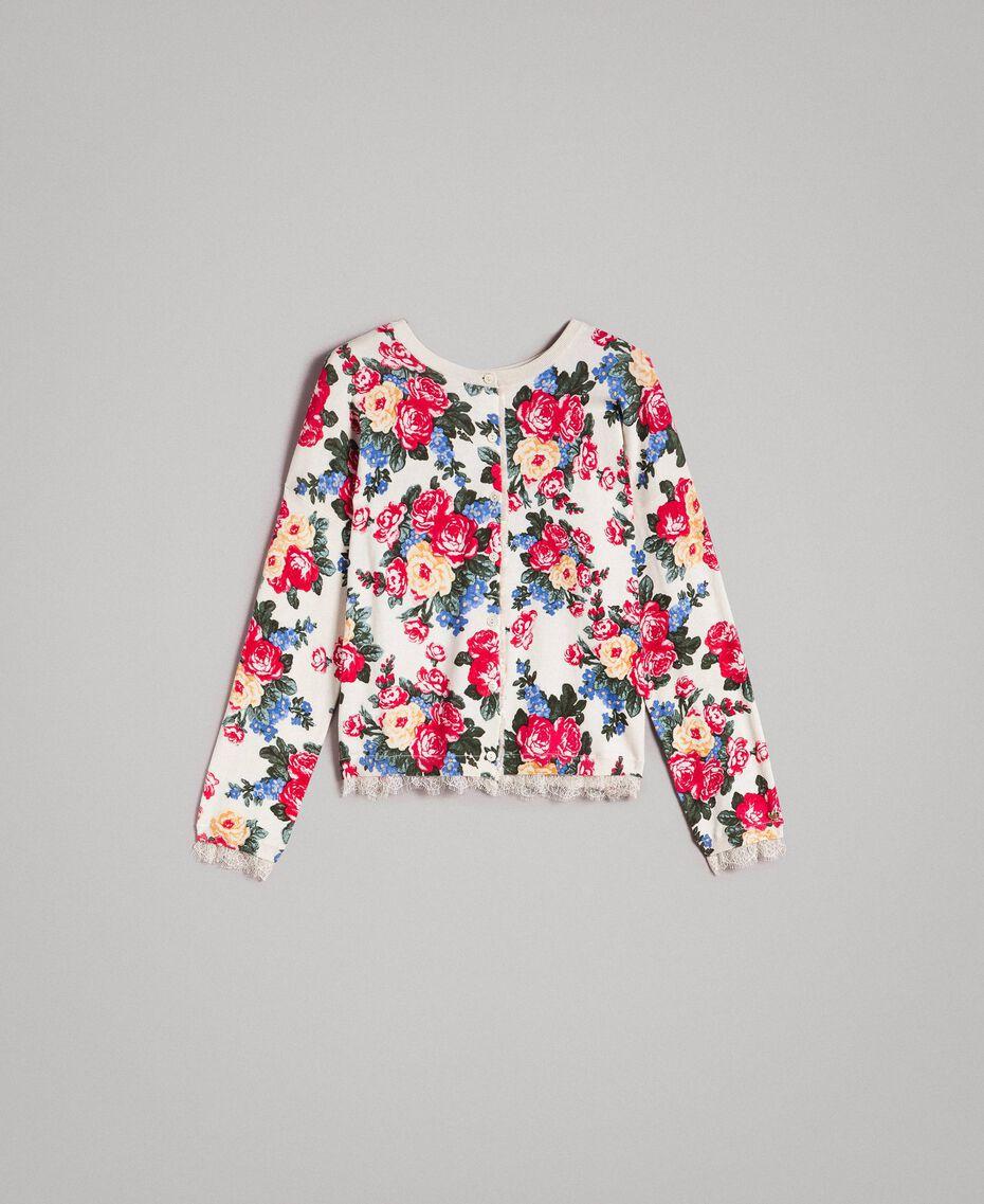 Pull-cardigan orné d'un imprimé floral Imprimé Fleur Tissu Blanc Femme 191MP3131-0S
