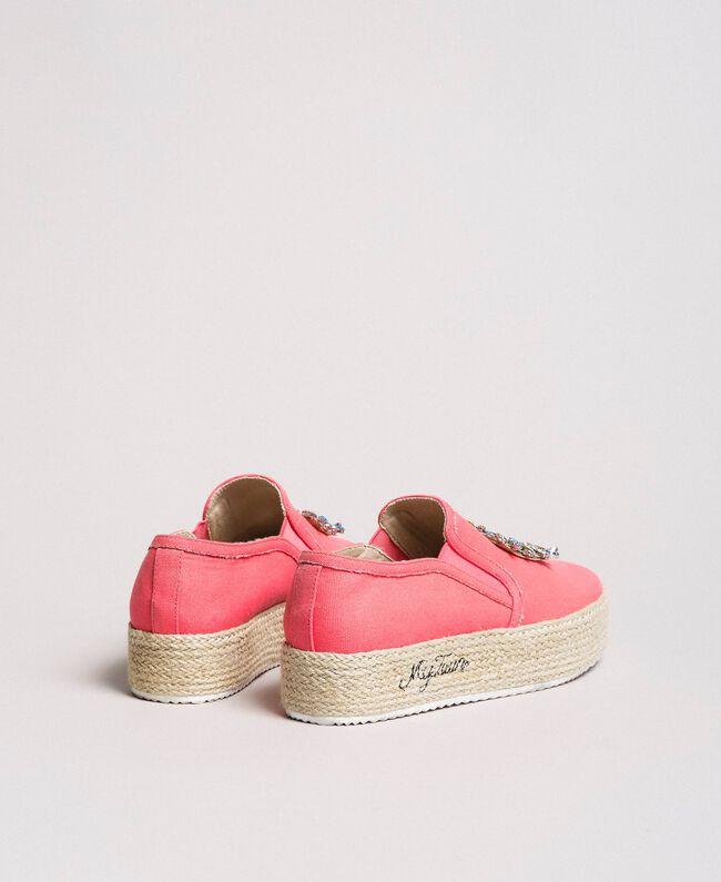 Chaussures slip-on en toile avec pierres Rose Camélie Femme 191MCP038-04