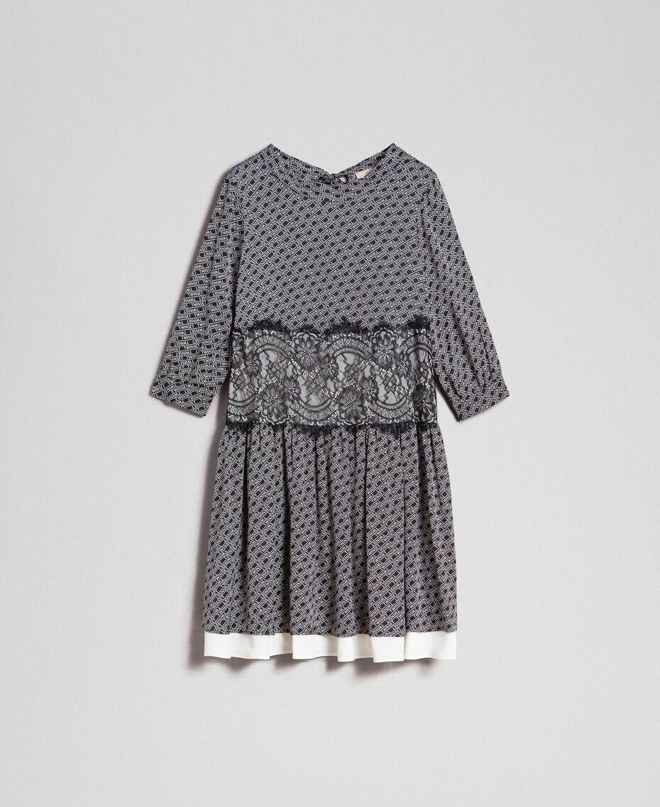 Kleid aus Twill mit Logoprint Logoprint Schwarz / Schneeweiß Frau 192TP258C-0S