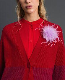 "Maxi cardigan with lurex band and brooch ""Samba"" Red Striped/ Purple Woman 192ST3081-05"