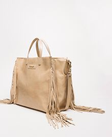Large leather shopper with fringes Nougat Beige Woman 201TO8140-02