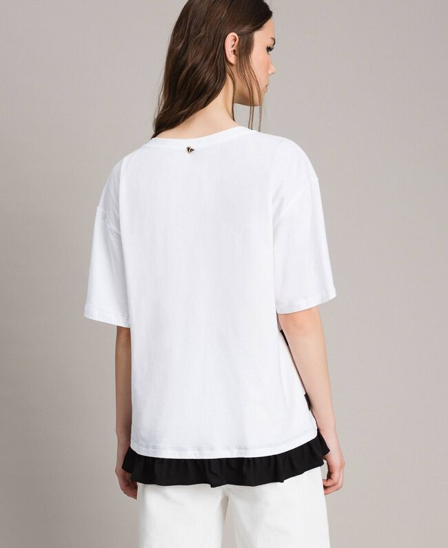 Maxi striped T-shirt with bow White Cream Woman 191MP206C-03