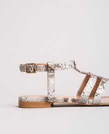 Animal print leather flat sandals Ice Python Print Woman 191TCP13A-04
