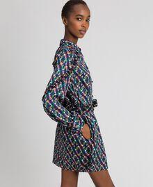 Bedrucktes Hemdblusenkleid mit Gürtel Geometrischer Fuchsprint Frau 192ST2141-01
