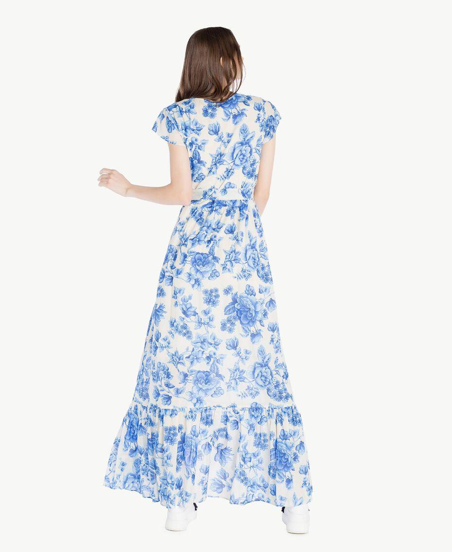 Robe longue imprimée Imprimé Porcelaines Bleu Marine «Pivoine» Femme SS82MR-03