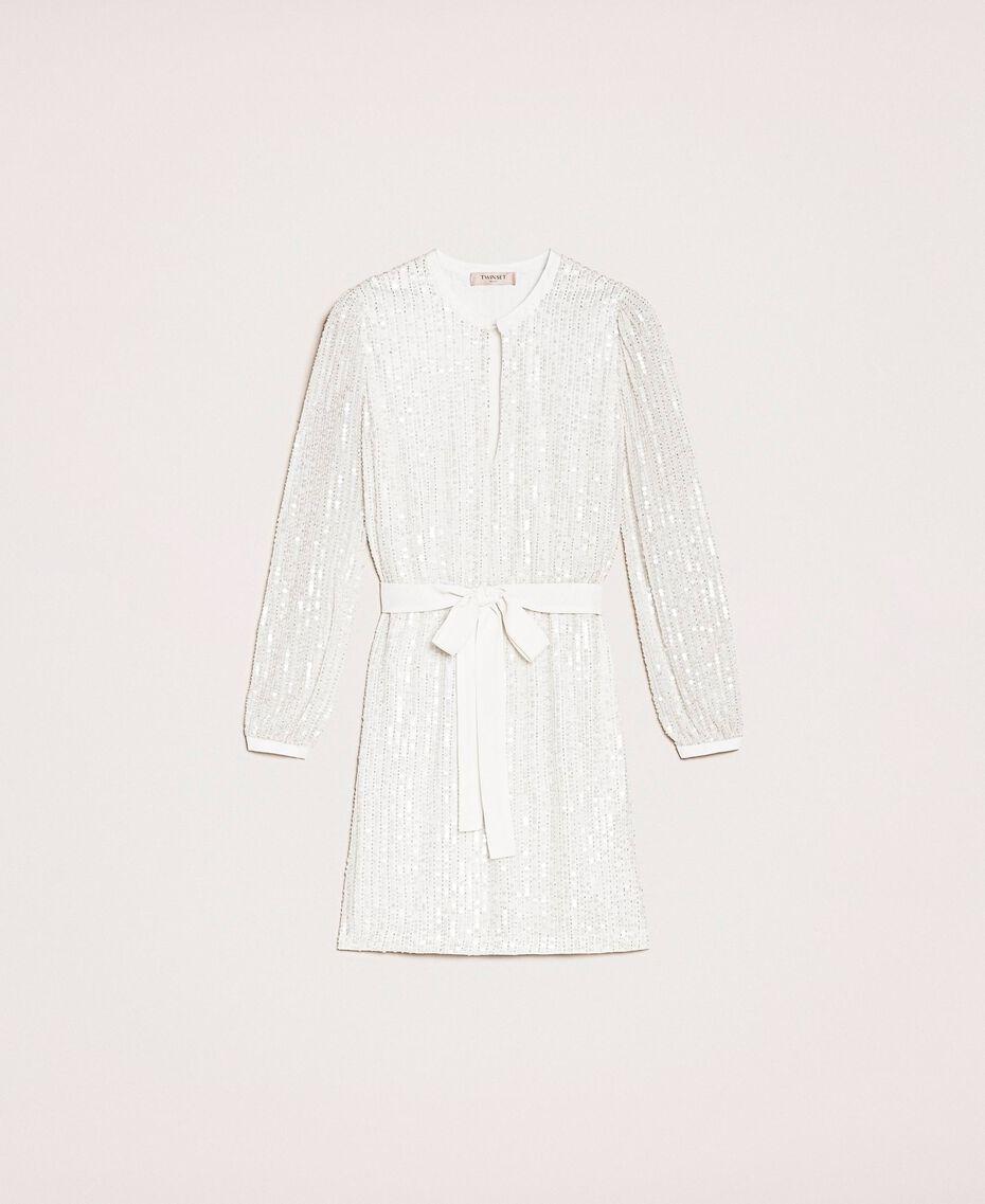 Платье, полностью расшитое пайетками и канителью Слоновая кость женщина 201TP2051-0S