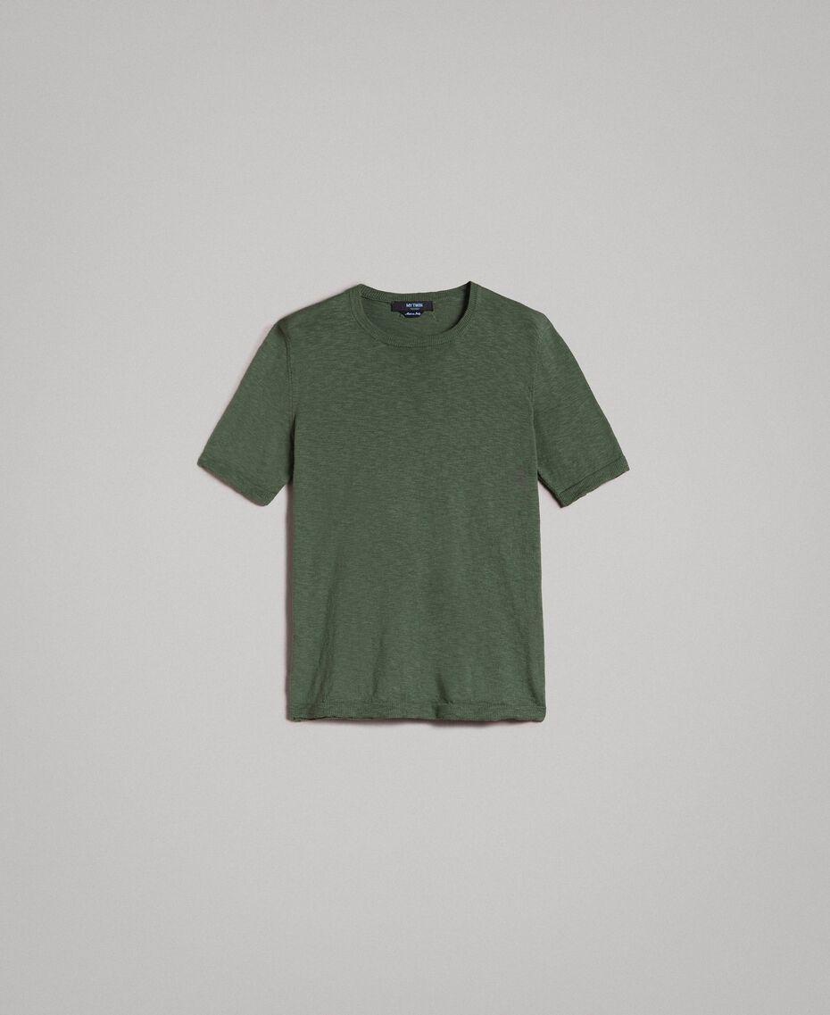 """T-shirt en coton mélangé flammé Vert """"Cactus"""" Homme 191UT3071-0S"""