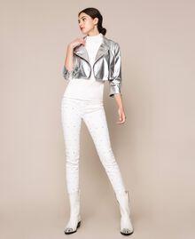 Cropped-Jacke aus Metallic-Lederimitat Silber Frau 201TP2410-0T