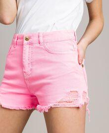 Short en coton aux détails déchirés Rose Fluo Femme 191MT2191-02