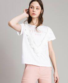 T-Shirt mit Spitze Weiß Frau 191LB2CAA-01