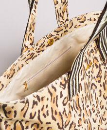 "Canvas beach bag with animal print ""Petra Sandstone"" Brown Animal Print Woman 191LM4UAA-05"