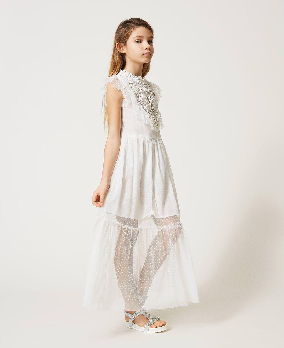 Kleid aus Tüll und Musselin mit Stickerei Mattweiß Kind 211GJ2Q3B-02