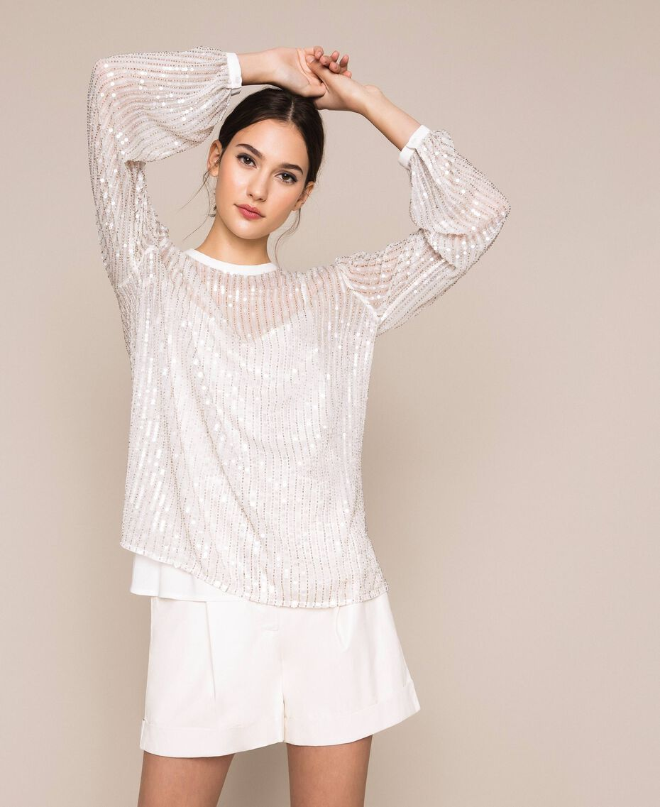 Tulle and full sequin blouse Ivory Woman 201TP2050-01