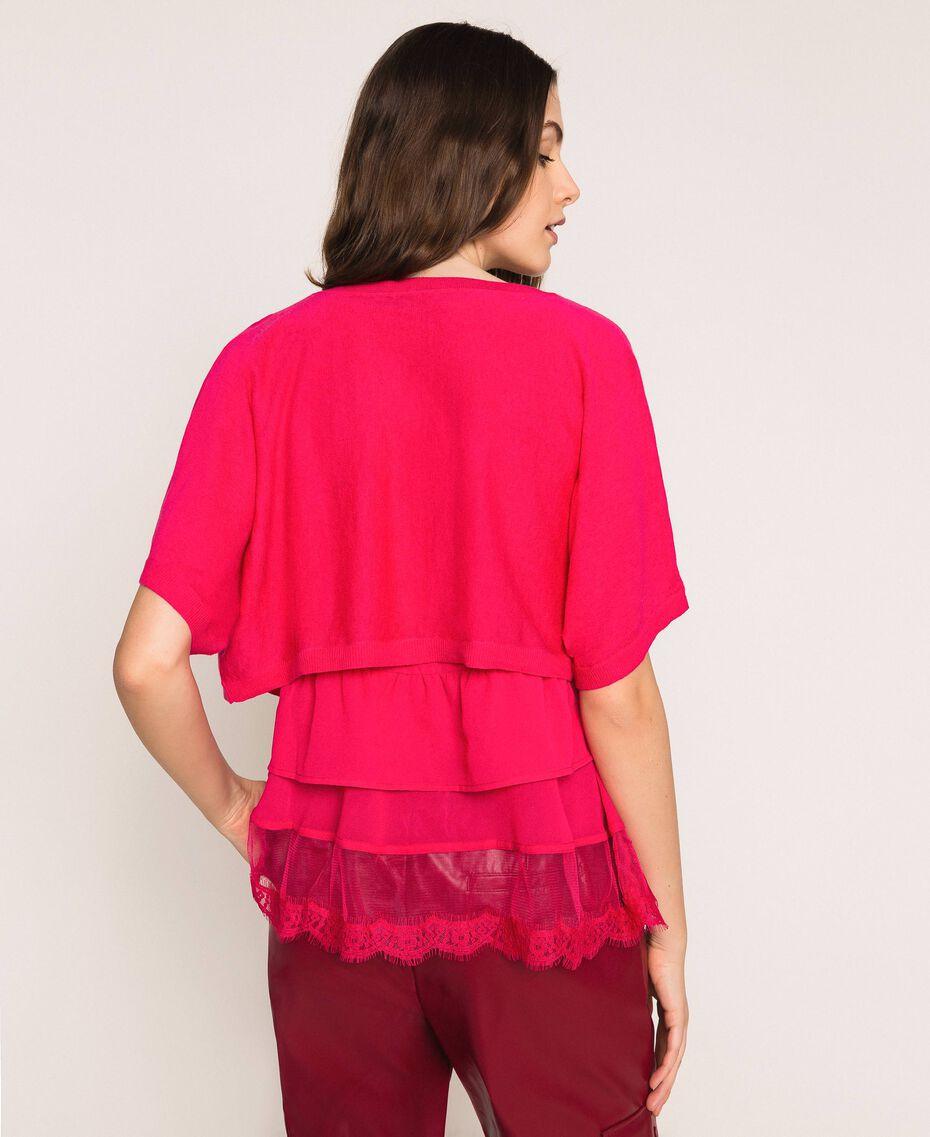 Maglia-cardigan in misto lino con top Rosa Selvatica Donna 201MT3022-03