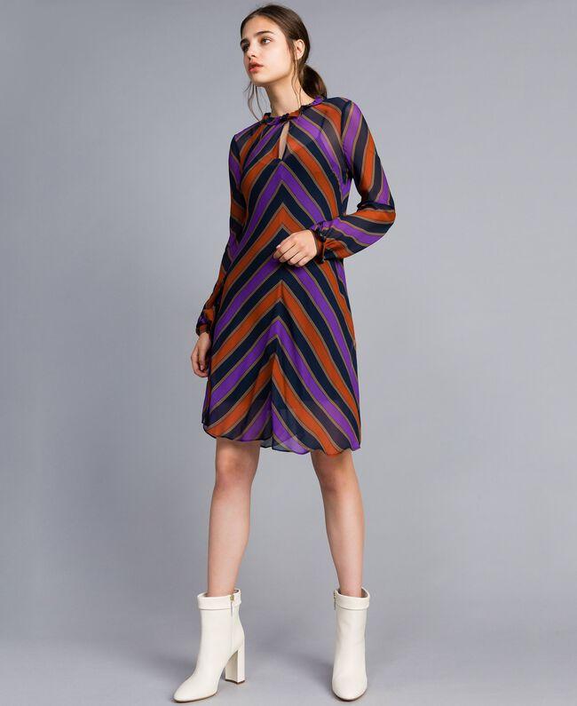Robe en crêpe georgette rayé Imprimé Rayure Multicolore Femme TA8295-01