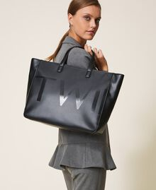 Shopper with maxi logo Black Woman 202TB7220-0S