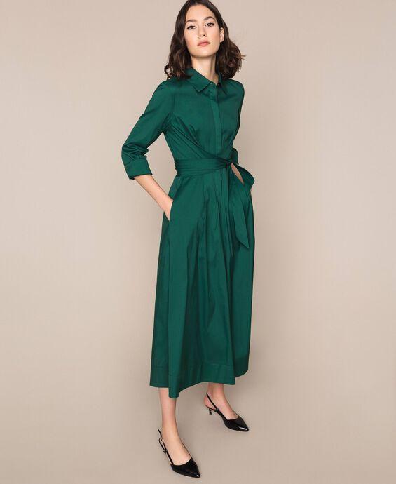Long poplin shirt dress