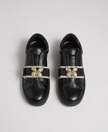Baskets en cuir avec bande brodée Noir Femme 192TCP06Q-05