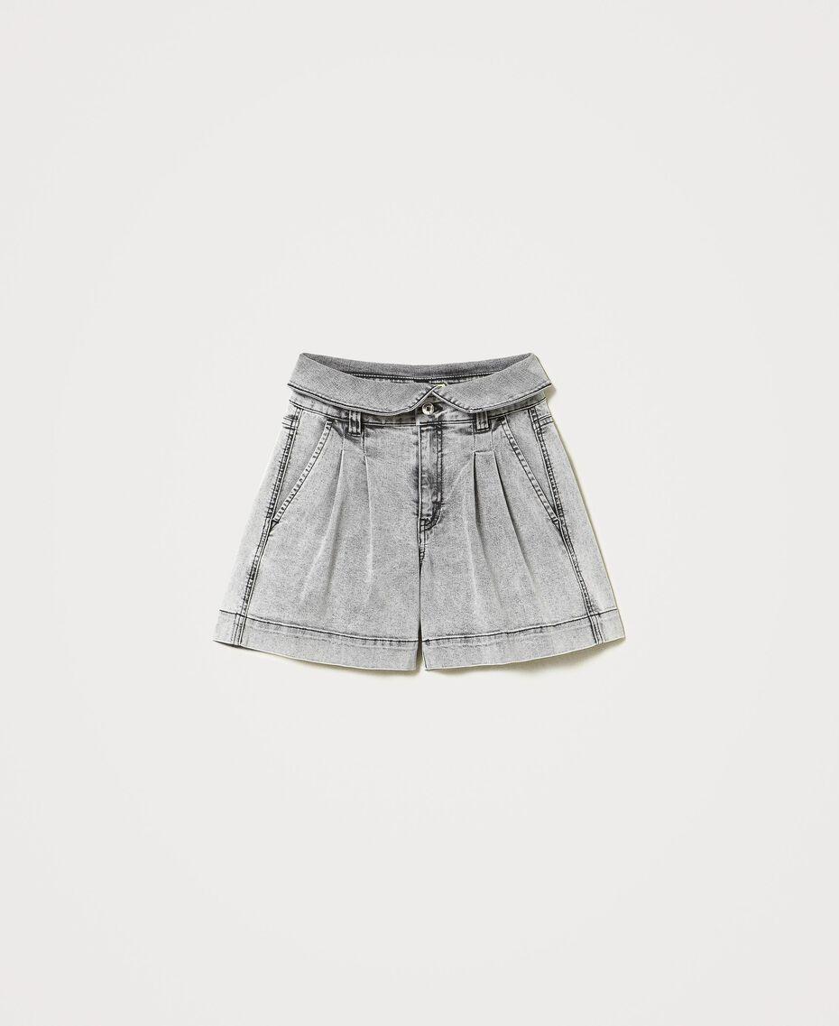 High waist denim shorts Grey Denim Woman 211MT2567-0S